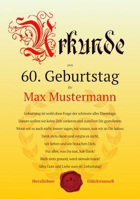 Geburtstagsurkunde zum 60. Geburtstag als PDF-Vorlage | Geschenke ...