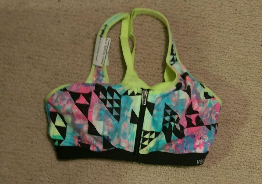 Victoria's Secret sports bra VSX the knockout neon zipper