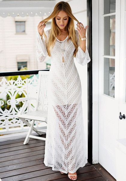 Lookbook Store // Look enchanting in this lace trumpet sleeve maxi dress. It's designed with a V neckline and bell sleeves for that dramatic look.