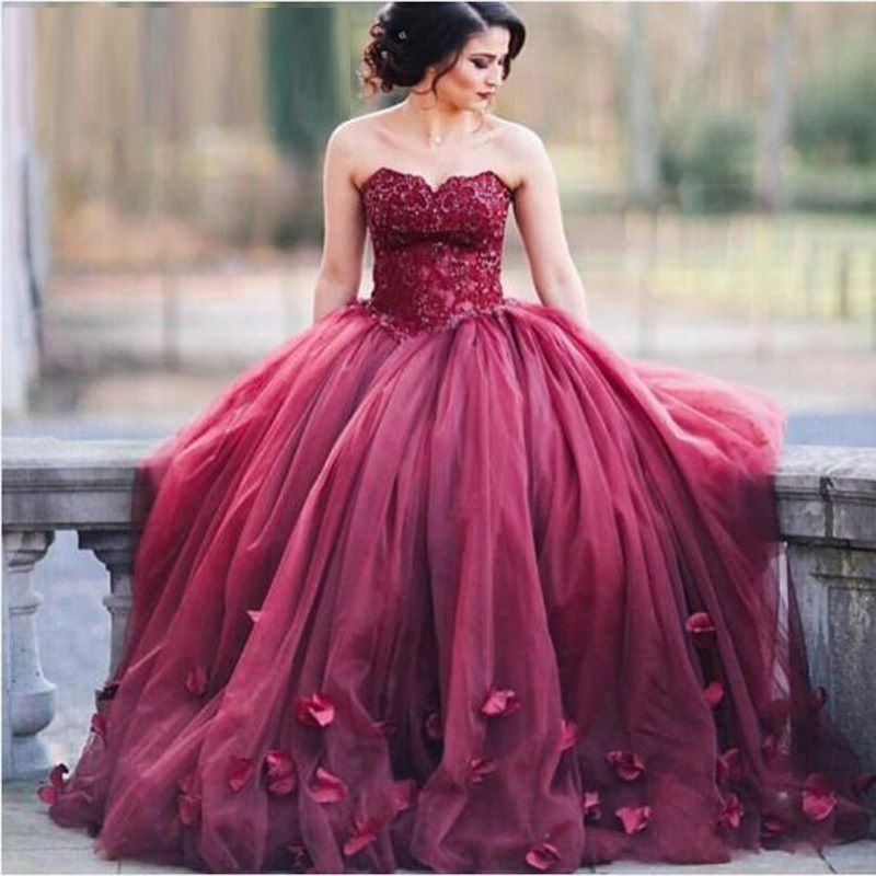 Burgundy Appliques Sweetheart Ball Gown Tulle Prom Dresses 2017 ...