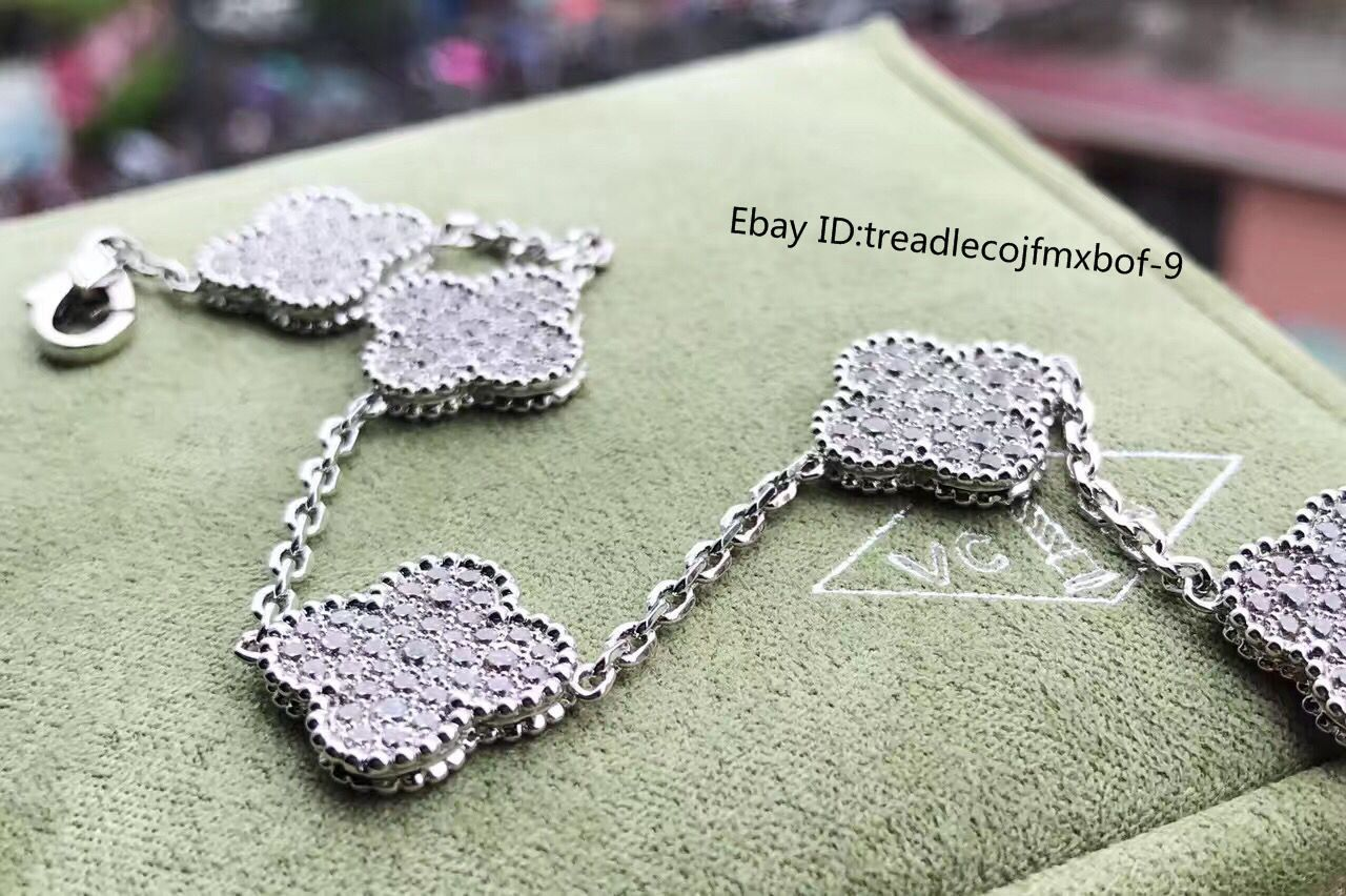 804343fbf7d Authentic Van Cleef & Arpels Alhambra Diamonds 5 Motifs Bracelet 18K White  Gold