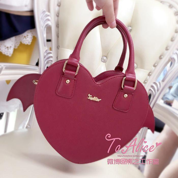bf9ca65dd8 Tomy Bear -Vampire s Devil Wings- Heart Shaped Halloween Themed Lolita  Handbag Cross Body Bag