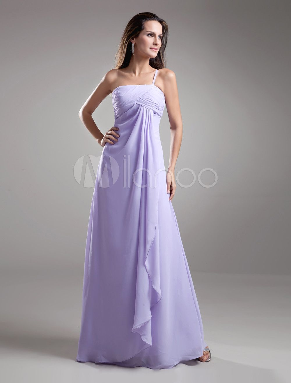 Chiffon Bridesmaid Dress Lilac One Strap Party Dress Cascading ...