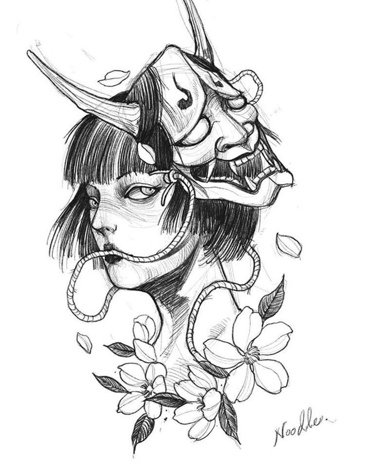 Sem As Rosas Com Uma Mascara Da Kitsuni Arte Da Tatuagem