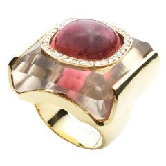 Kara Ross Rubellite Quartz Rock Crystal Inset Ring