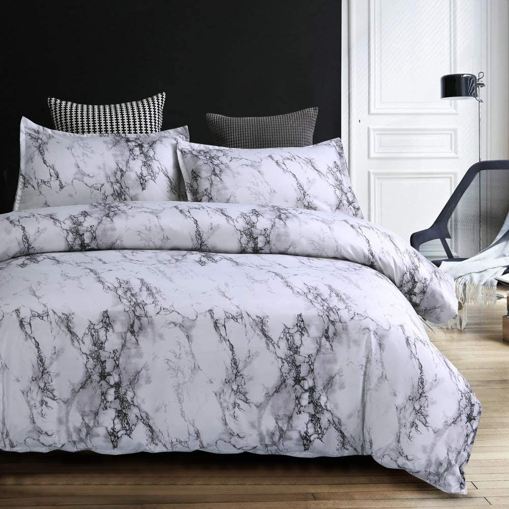 Photo of Marble Duvet Cover Set, 2 Piece Simple Bedding Set Soft Microfiber Quilt Cover with Zipper Closure, Grey 59″x79″