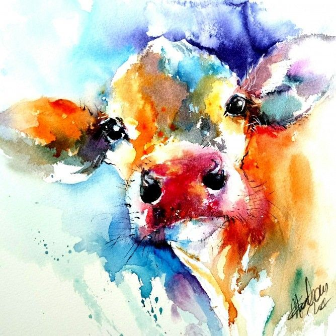 Natalie Graham Cow Painting In Watercolour By Natalie Graham