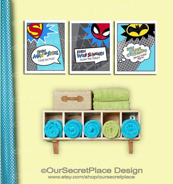 PRINTABLE Superhero Bathroom Wall Art Decor Superhero Art Personal ...
