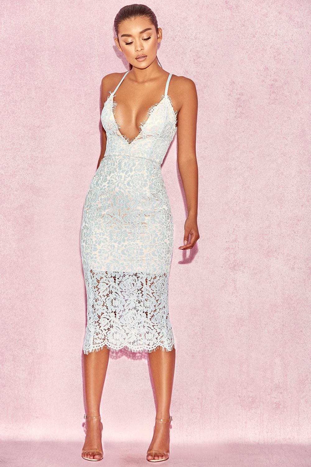 bac862fa5d Clothing : Bodycon Dresses : 'Edeta' Light Blue Lace Plunge Dress ...