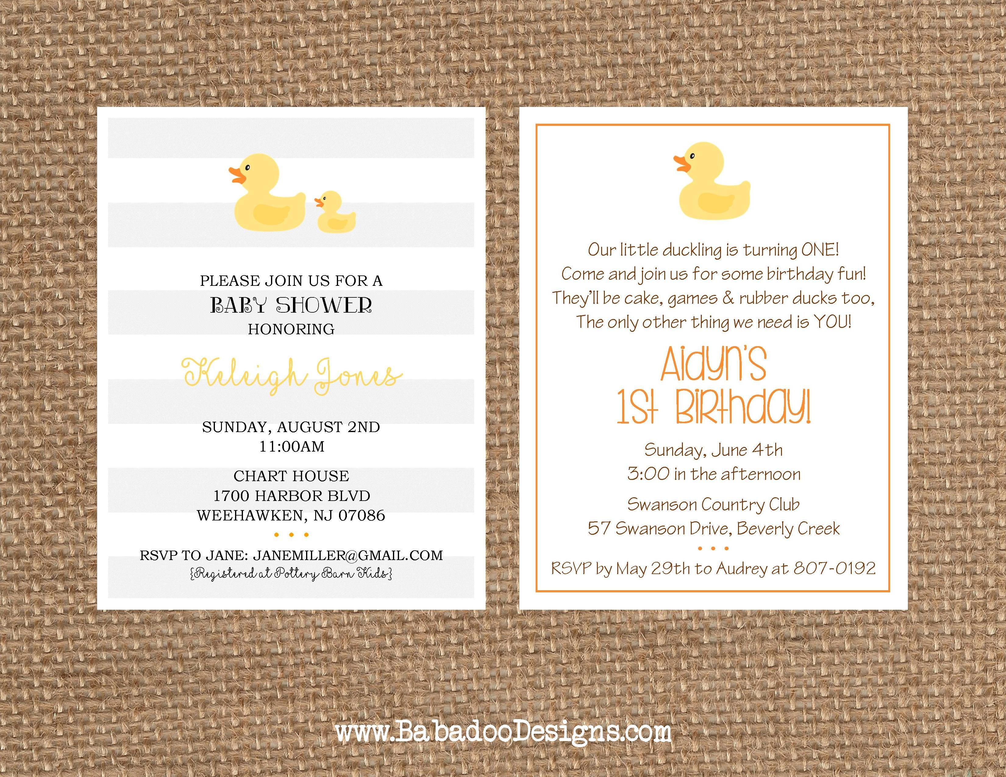 Rubber Duck Birthday + Baby Shower Invitation | Rubber Duck ...