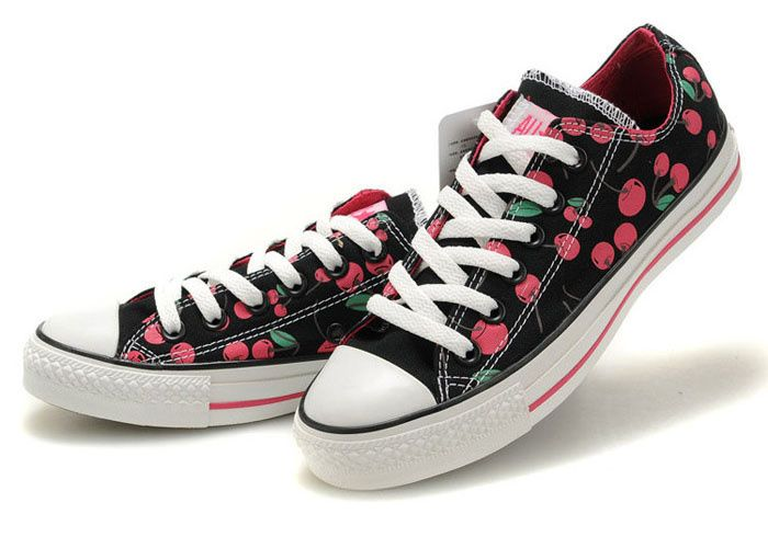 Cheap Converse Chuck Taylor All Star Girl Shoes Cherry Low-top Black  Comfortable | Converse