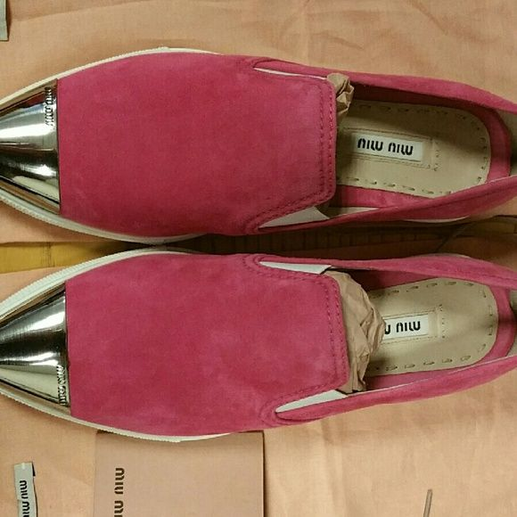 Miu Miu -- Pink Suede Slip On Sneakers Brand new, never been wore. No box but come with dust bags.  Material is Suede, Style is Fashion Slip On Sneakers, Flat, no heel, Side is 36, width is Medium (B, M). Miu Miu Shoes Sneakers