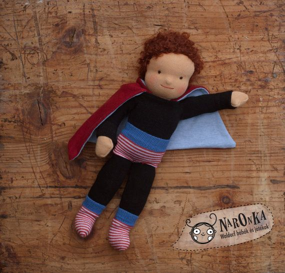 "Waldorf super hero doll - textile doll for boys - 30 cm / 12"""