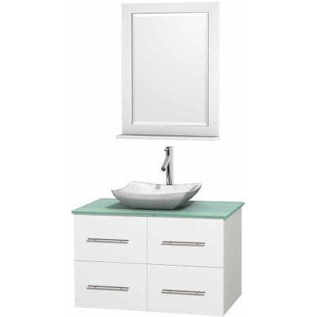 Wyndham Collection Centra 36 inch Single Bathroom Vanity in Matte White, Green Glass Countertop, Avalon White Carrera Marble Sink, and 24 inch Mirror