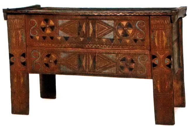 Wooden chest. Djakovica, Kosovo & Metohija, Serbia. Made in 1898. It was used to store the clothes of the bride. Škrinja, kutija. Đakovica, Kosovo i Metohija,Srbija. Napravljena 1898 Služila za čuvanje mladinog ruha. Source (FB):https://www.facebook.com/media/set/?set=a.790907270923499.1073741870.723706717643555&type=1