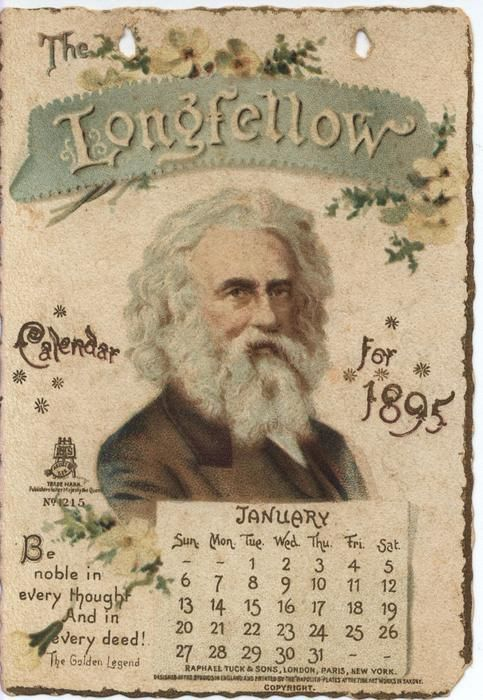 The Longfellow Calendar For 1895 With Images Vintage Calendar