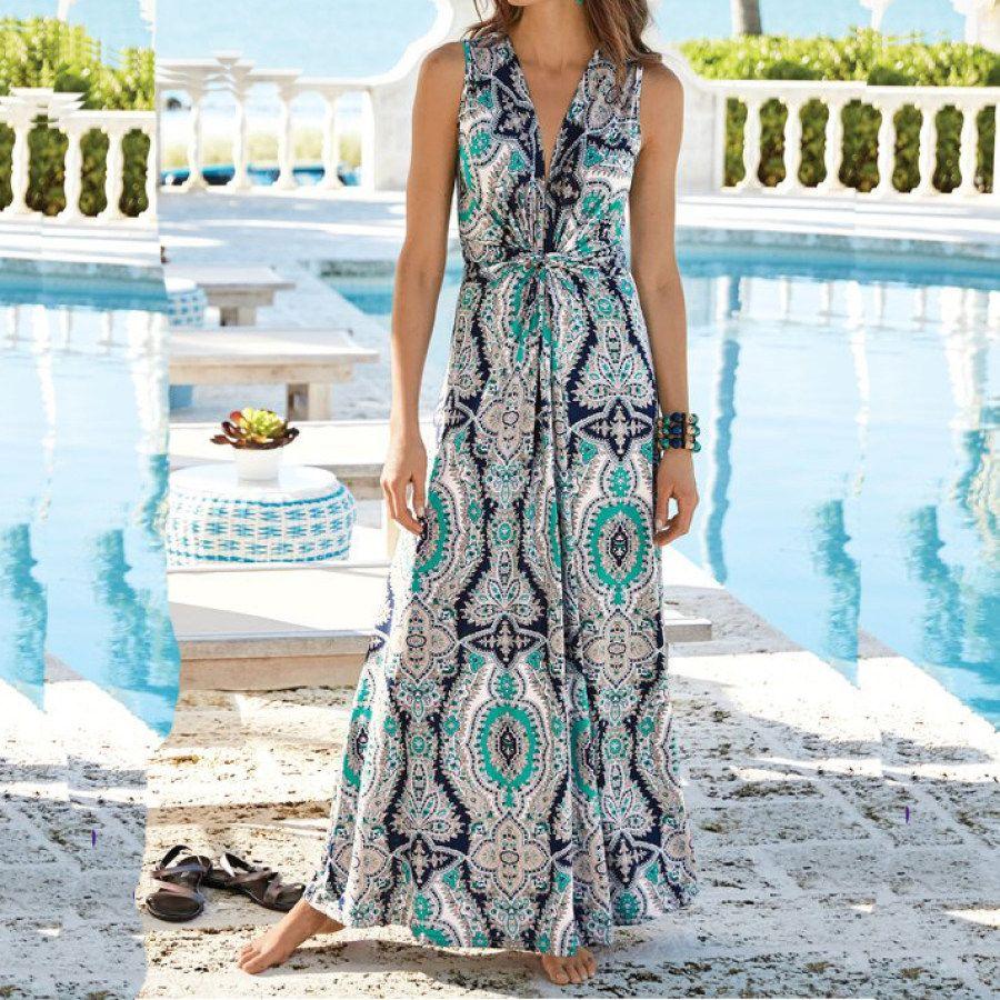 Limited Time Big Sale Summer New Women S Sleeveless V Neck Printed Waist Dress Ootdmw Com In 2021 Maxi Dress Petite Maxi Dress Style Maxi Dress [ 900 x 900 Pixel ]