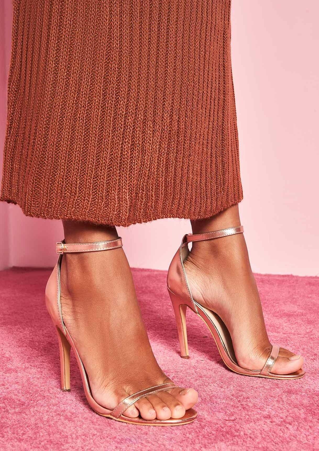 4c884844744 Missyempire - Valentia Rose Gold Ankle Strap Heels