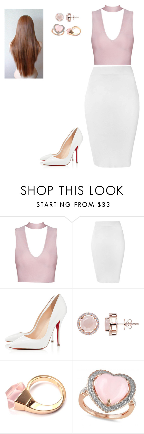 """Untitled #1011"" by maryleea ❤ liked on Polyvore featuring Glamorous, Christian Louboutin, H.AZEEM, Gucci and Allurez"