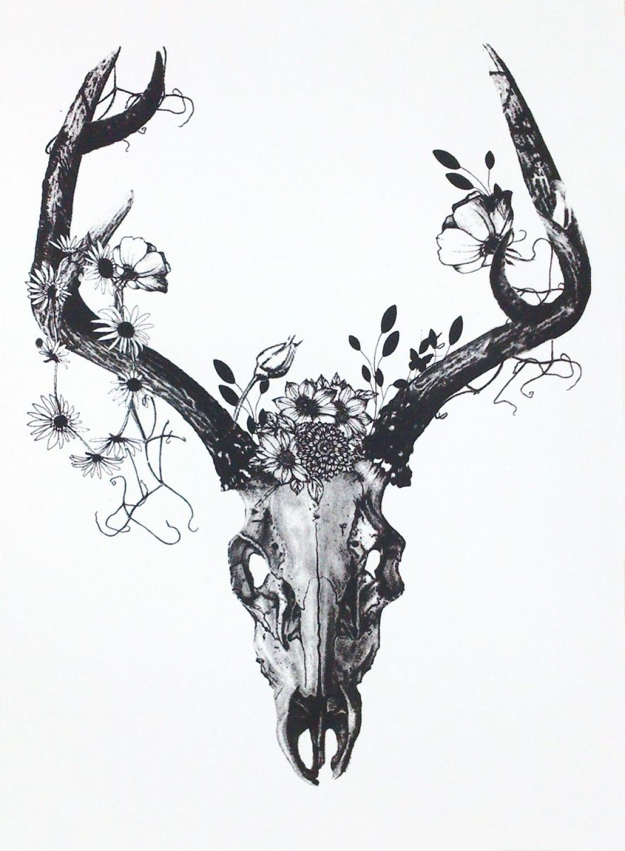 33502b1bb Deer Skull with Charcoal Flowers | Tatoo | Deer skull tattoos, Skull ...