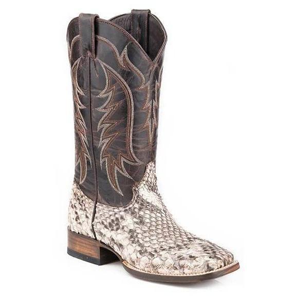 e615a1435ed Men s Stetson White Monster Python Boots Wide Square Toe Handmade