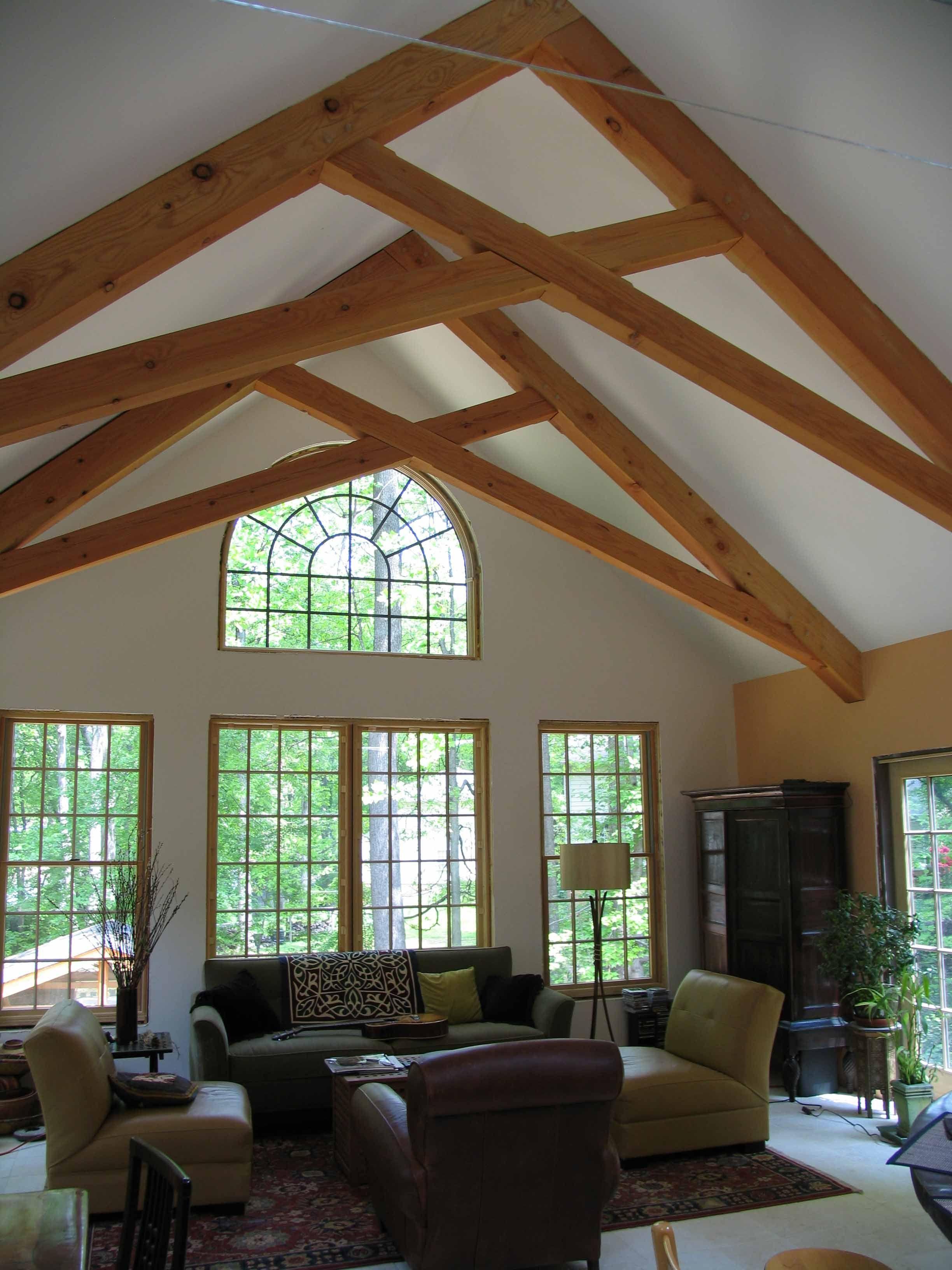 Private residence scissor trusses scissor trusses for Exposed roof truss design