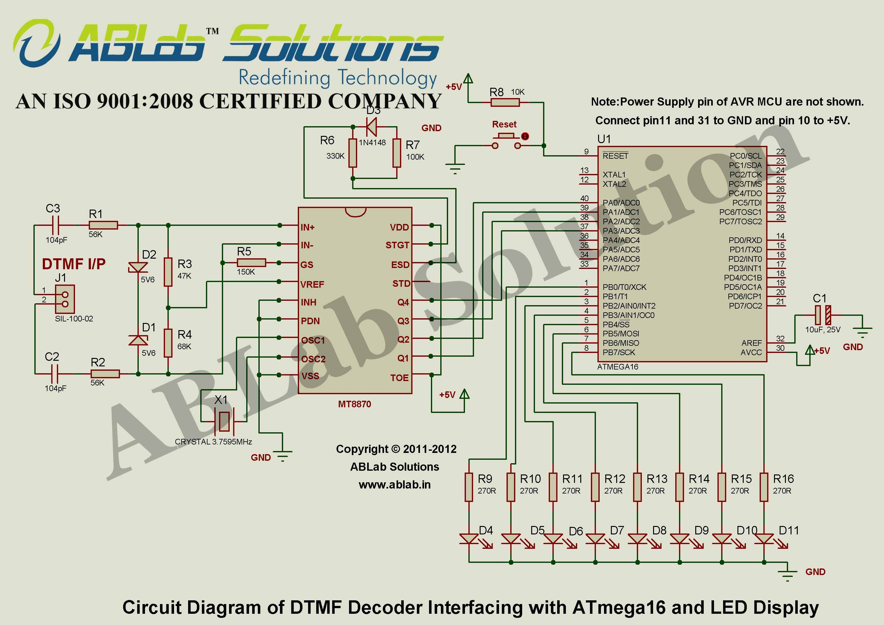 Dtmf Decoder Interfacing With Avr Atmega16 Microcontroller And Led Based Load Control System Circuit Diagram