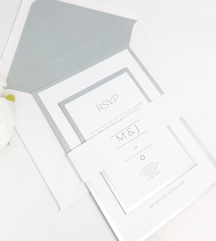Pearlised grey invitation set, Shimmer grey wedding invitations ...