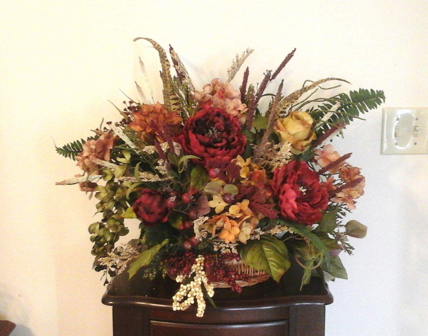 Floral Arrangement Summer Flower Basket Arrangement Table Mantel