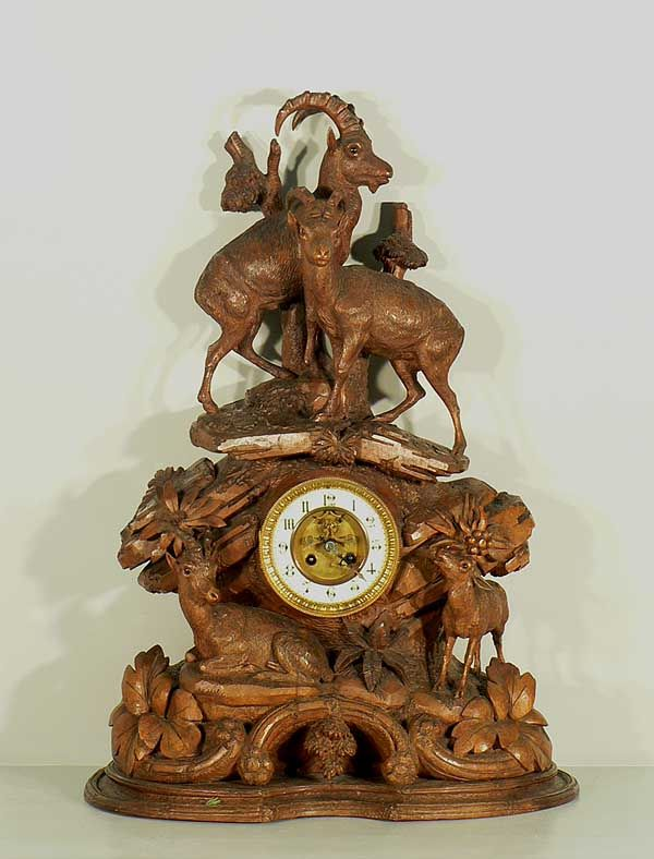 Impressive Carved Table Clock With Chamois Group, Ca. 1900