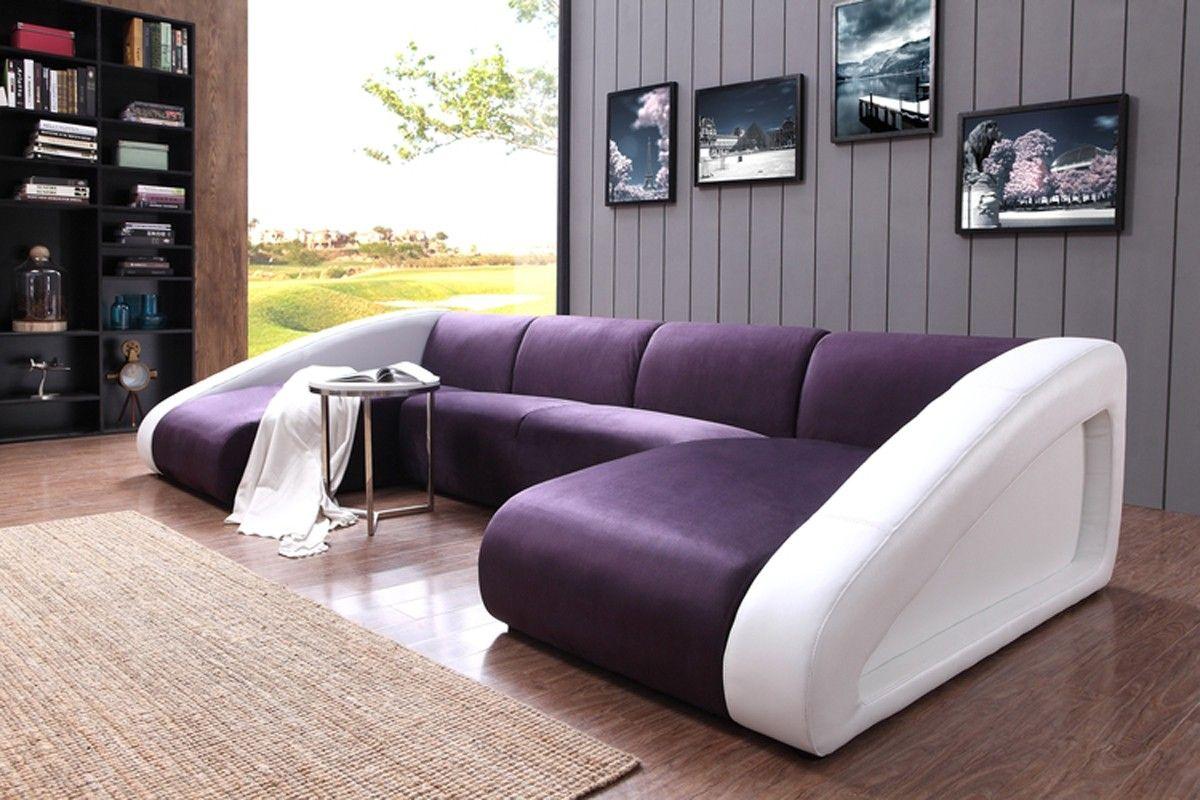 Divani Casa 0916 Modern Purple White Fabric Leather Sectional Sofa Sectional Sofa Red Living Room Set Modern Sofa Sectional