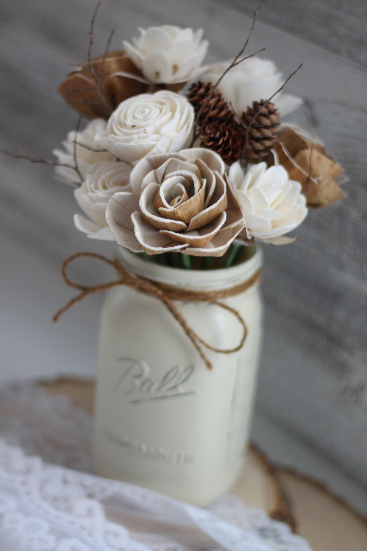 Winter Wooden Flower Arrangement Farmhouse Flourish