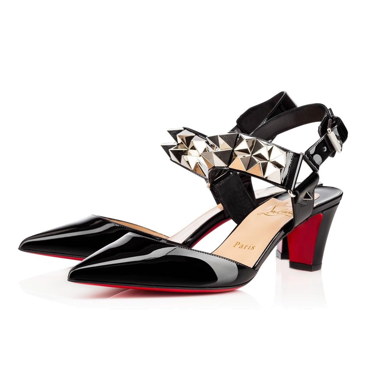 a945f758fdb1 CHRISTIAN LOUBOUTIN Ziggoo 55 Black Silver Patent Leather - Women Shoes - Christian  Louboutin.