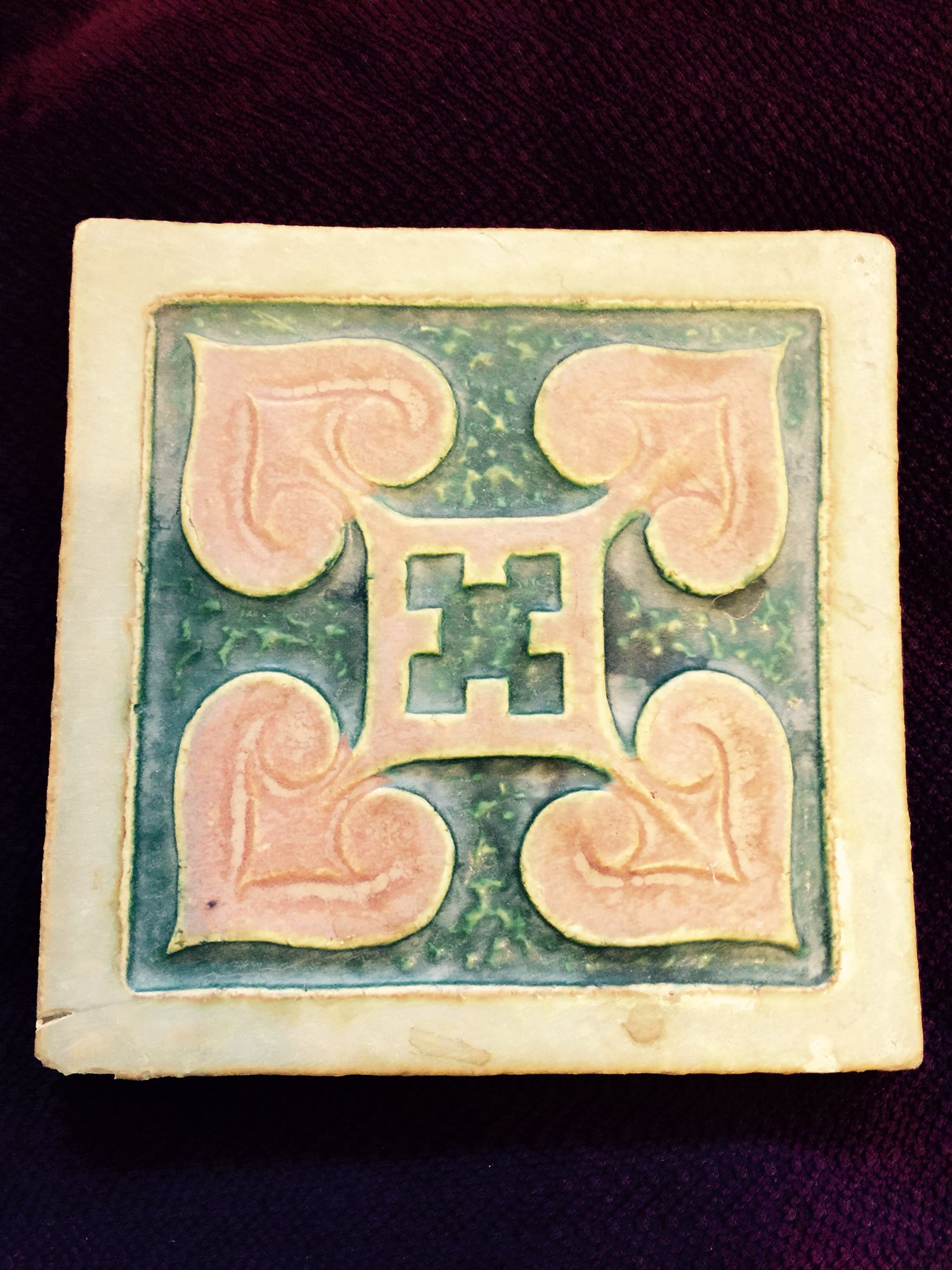 Another tile I found in that some philly burb attic it has some sort of stamp on the back that is hard to make out.  Wall decoration?