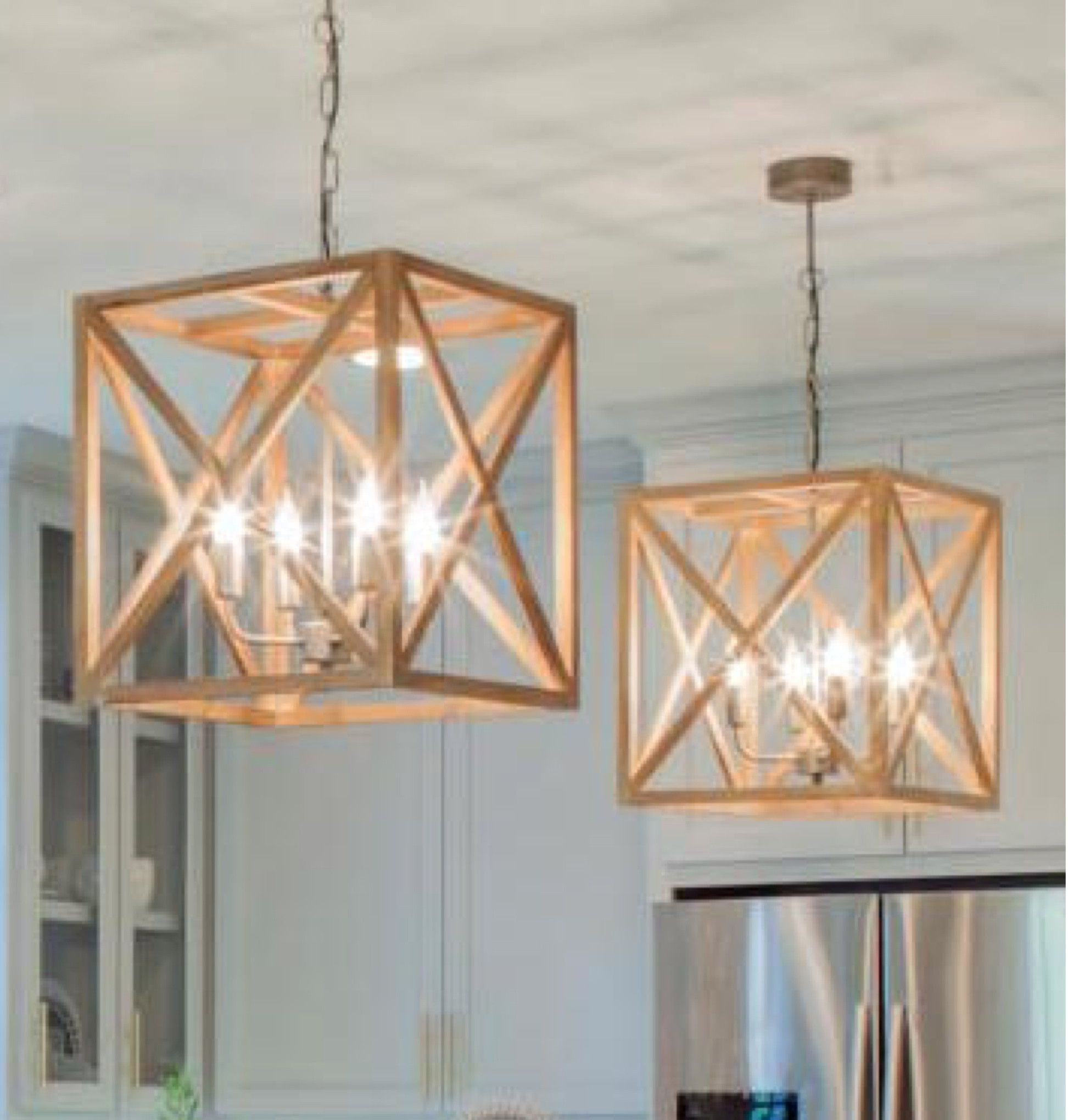 Wood Chandeliers For Dining Room: This Square Wood And Metal Chandelier Will Add A