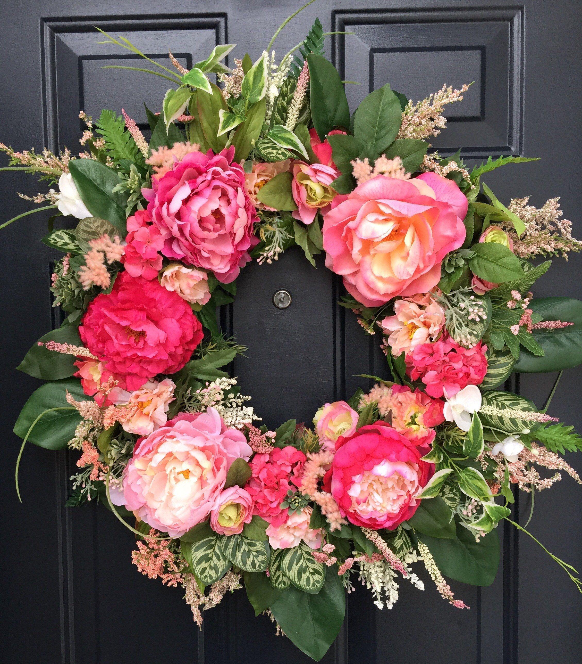 Summer front door wreaths - Peony Wreath For Front Door Spring Peony Door Wreath Summer Peony Door Wreath