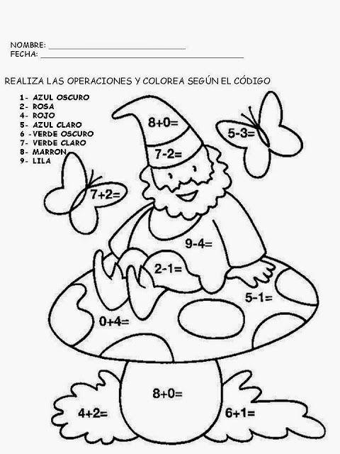 Educación Infantil con TIC: Dibujos para colorear de restas y sumas ...