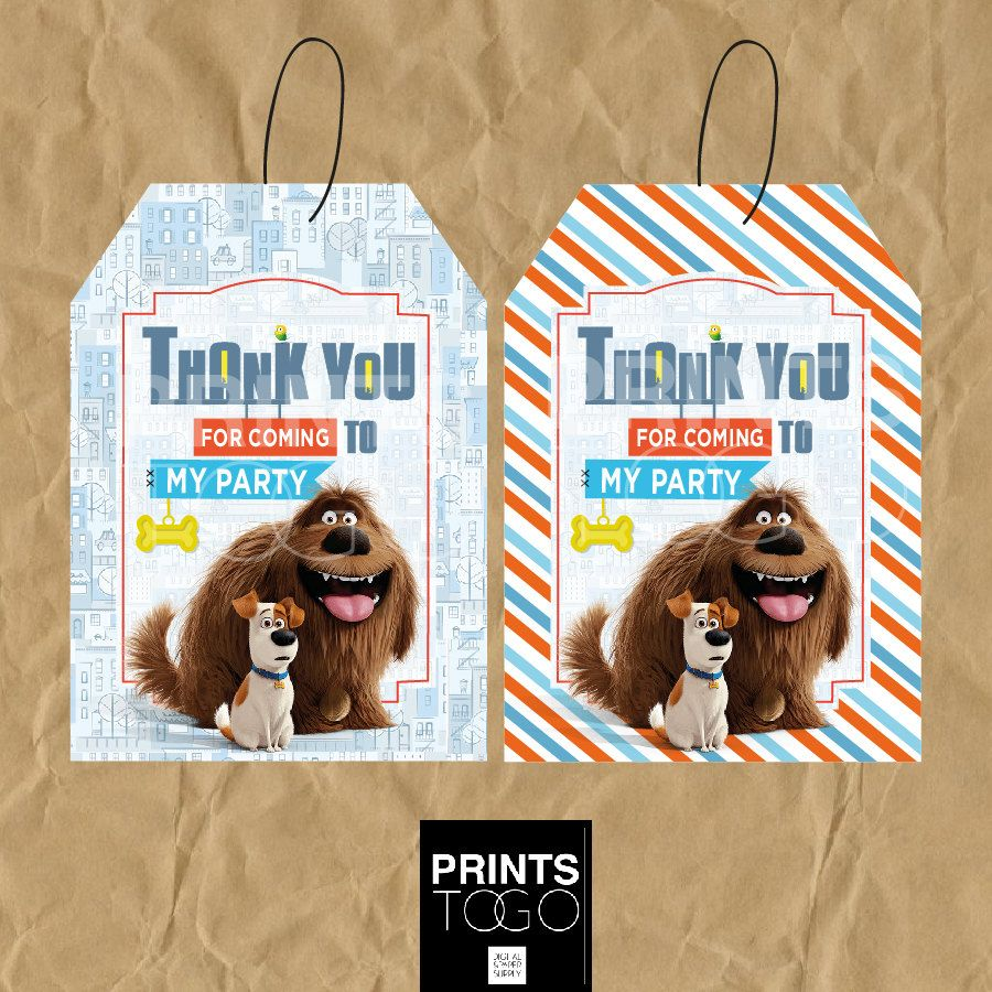 Secret Life Of Pets Thank You Tags Secret Life Of By Printstogo Secret Life Of Pets Animal Birthday Animal Party