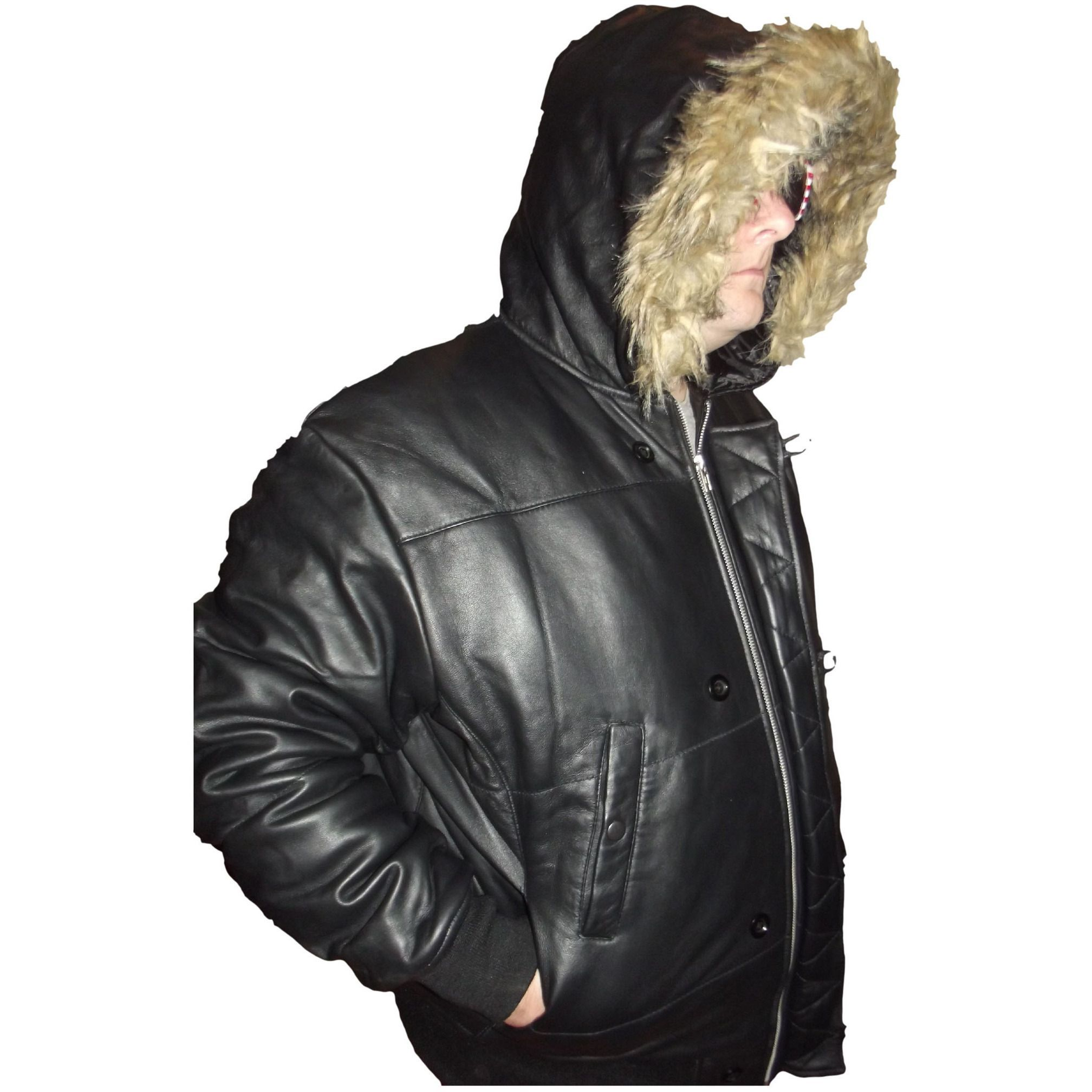 Mens Leather Jacket Black Hooded Puffy Puffer Faux Fur