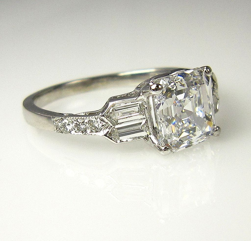 platinum deco carat enagagement art ring bands diamond filigree engagement