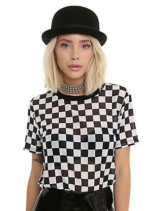 6592e9cc503e4c Black & White Checkered Girls Mesh Top, BLACK | ✧check, check ...