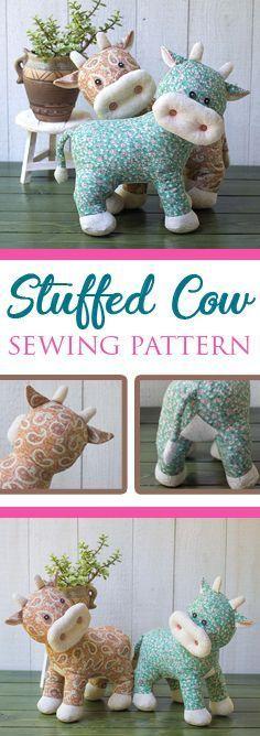 Tilting Head Calf - PDF Sewing Pattern & Tutorial   Stuffed animals   Fabric toys   Softies   DIY Projects   Cow pattern   Ox Pattern #beginnersewingprojects