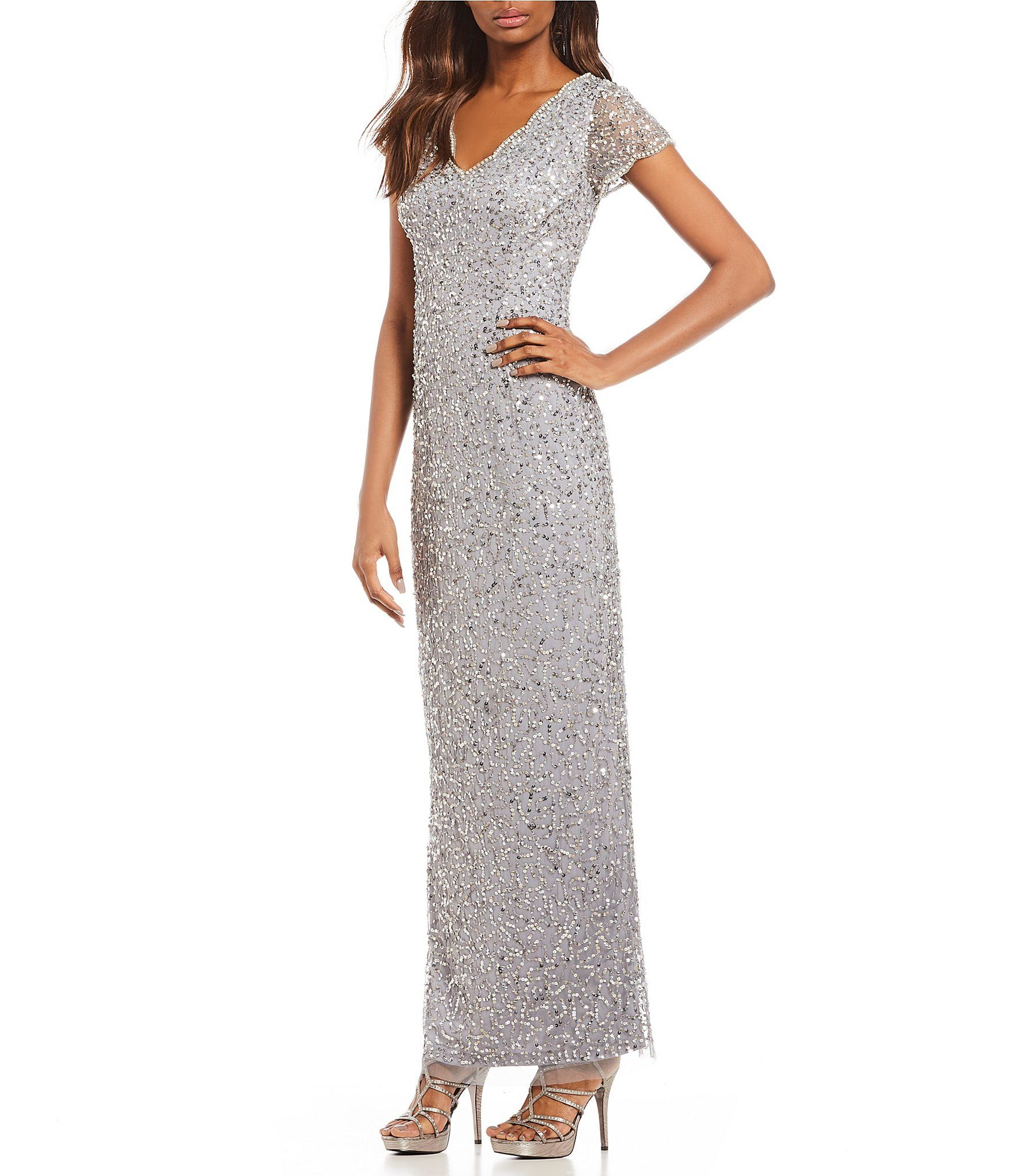 Adrianna Papell Petite Scalloped Beads And Pearls Gown Dillards