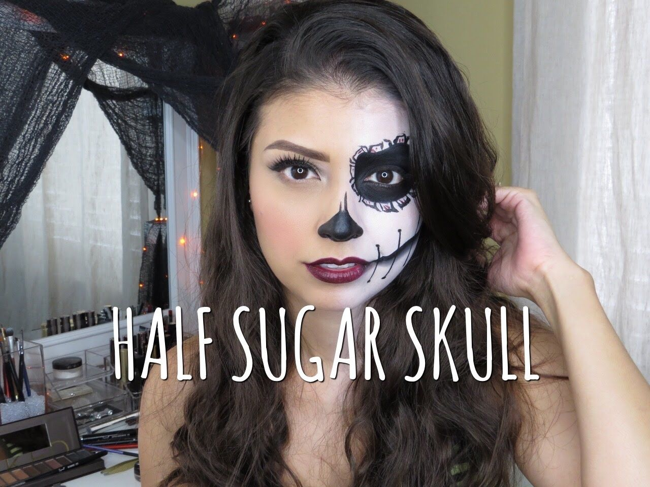 easy half sugar skull halloween makeup tutorial beauty. Black Bedroom Furniture Sets. Home Design Ideas
