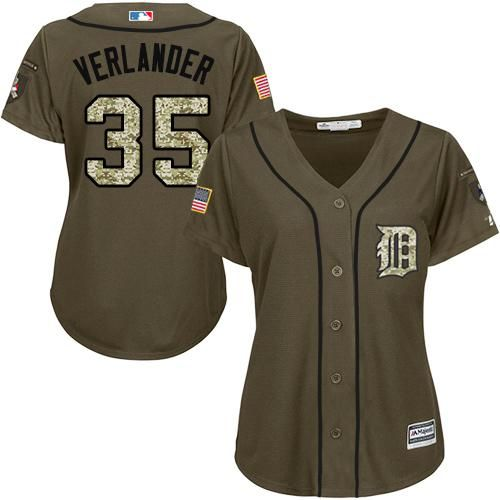 Detroit Tigers #35 Justin Verlander Green Salute to Service Stitched MLB Jersey