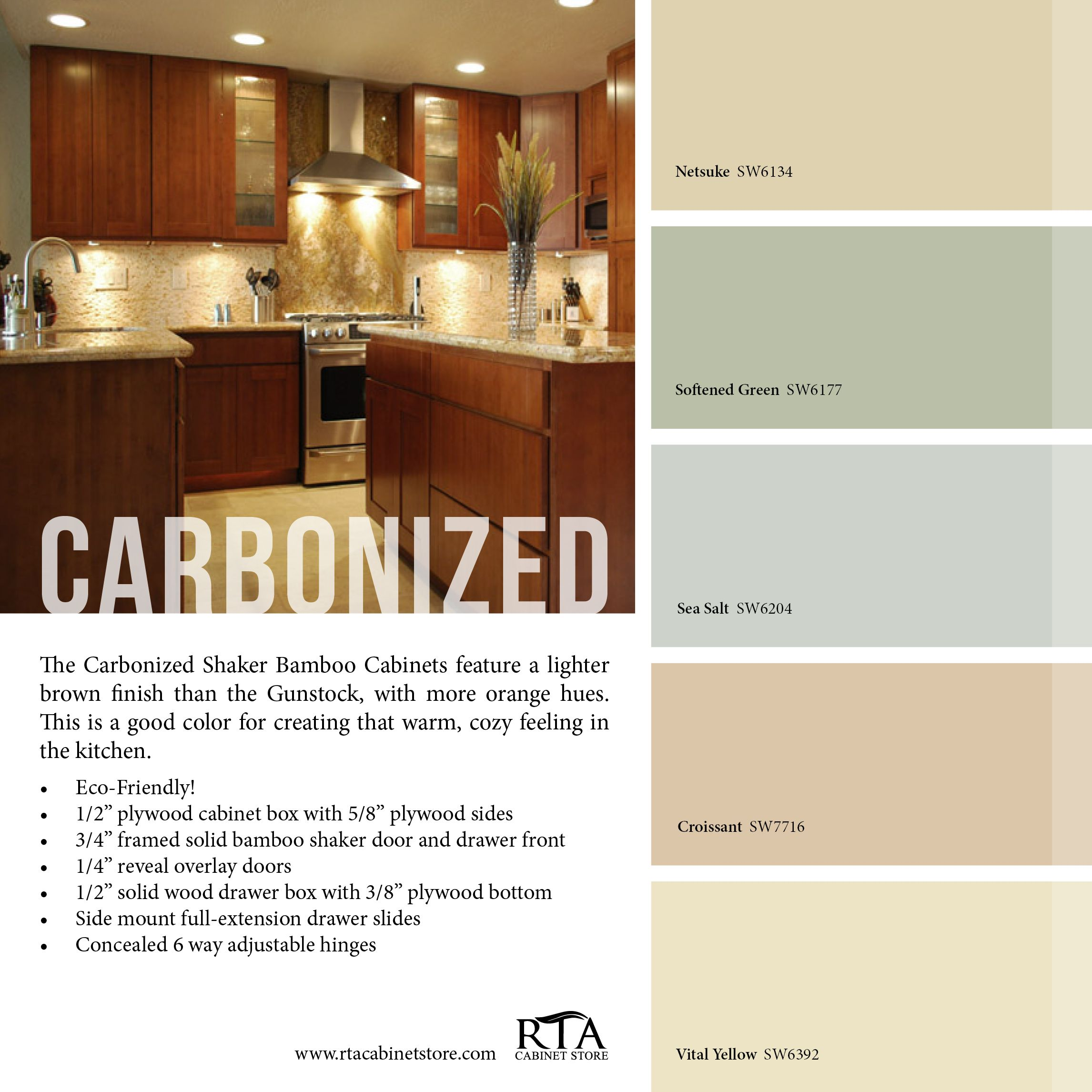 Color Palette To Go With Our Carbonized Bamboo Cabinet Line Bamboo Cabinets Kitchen Colors Custom Kitchen Cabinets