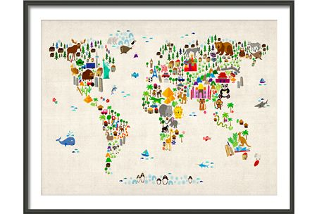 Denim map of the world pinterest kids animals cot and nursery kids animal map of the world large black wooden frame am1107fl maps international gumiabroncs Image collections
