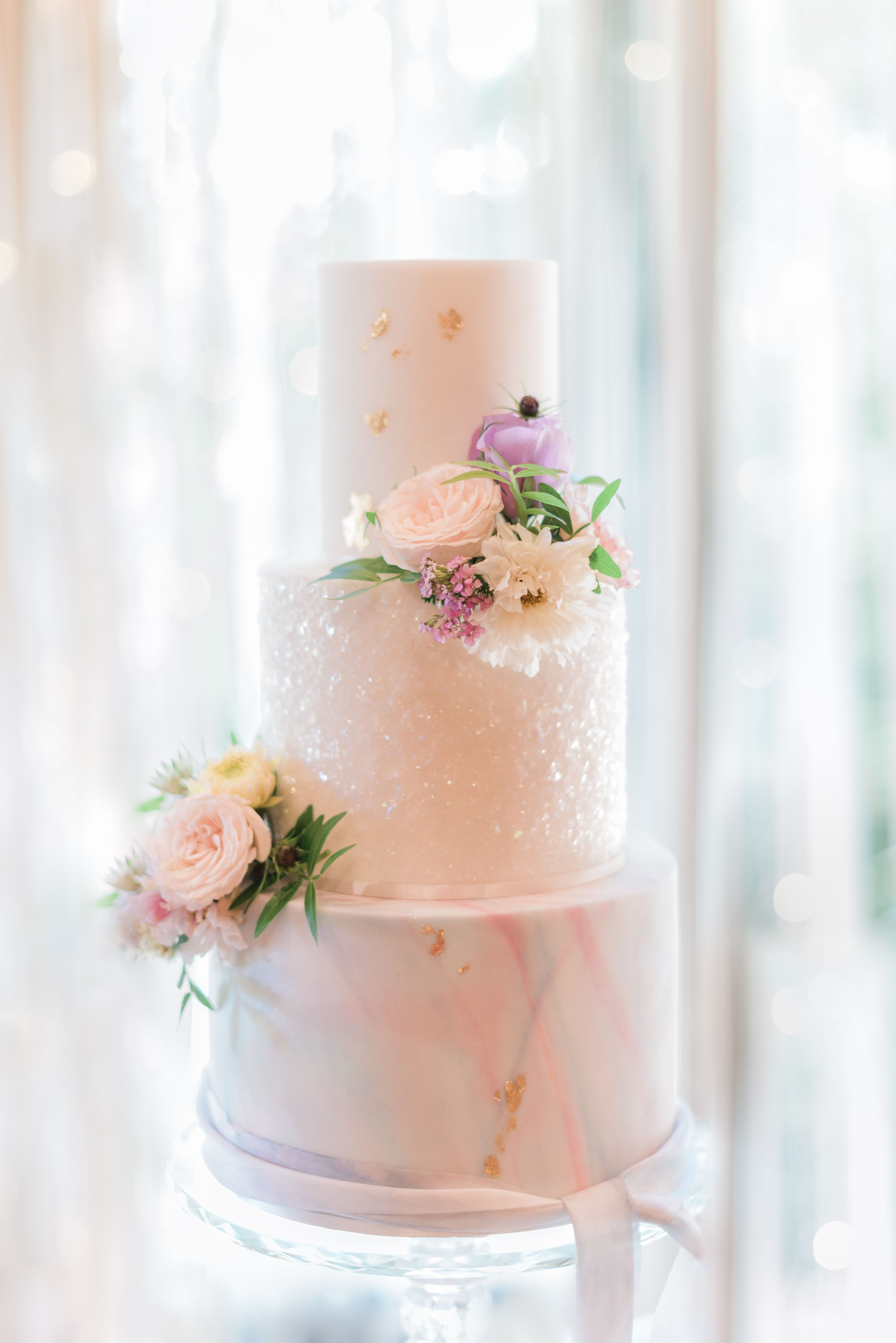 Pearlescent 3 Tier Wedding Cake Marble Effect Cake Silk Ribbon On
