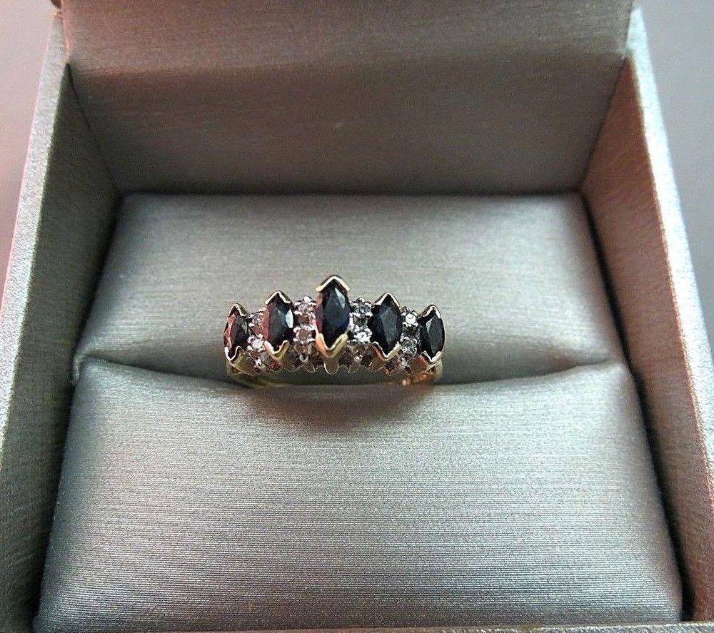 Vtg 10k Plum Yellow Gold 8 Diamond Accent Marquise Sapphire Ring 3g Size 7 Nice Sapphire Ring Diamond Accent Diamond Bling