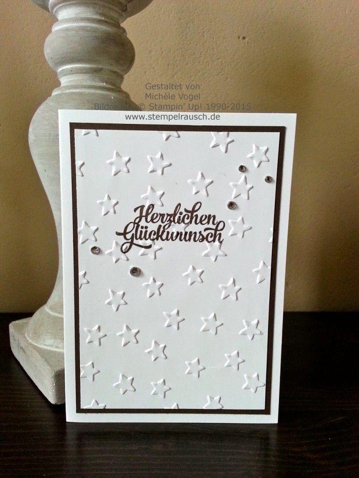 Stampin\' Up! Geburtstagskarte mit geprägen Sternen. Mit der Big Shot ...
